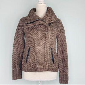 Loft Brown Knit Moto Style Zip Up Jacket Sz S